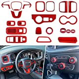 21 PCS Interior Decoration Trim Kit Fits for 2015-2021 Dodge Charger - Air Conditioner Switch CD Button Knob, Steering Wheel Decoration Cover, Window Lift Switch Trim & Air Outlets Trim (Red)