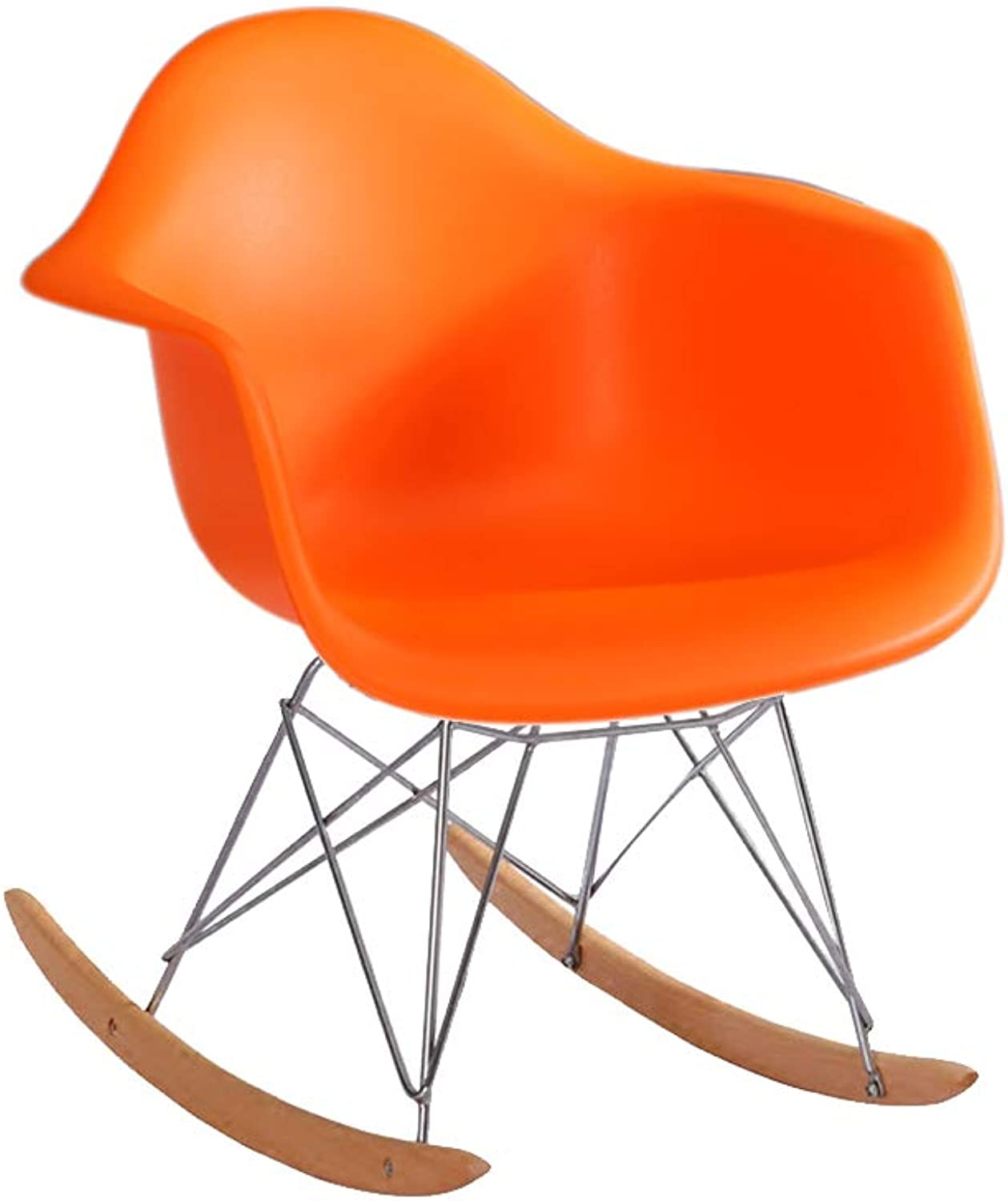 Chair-Modern Minimalist Solid Wood Rocking Chair Recliner Lounge Chair Lounge Chair (color   orange)