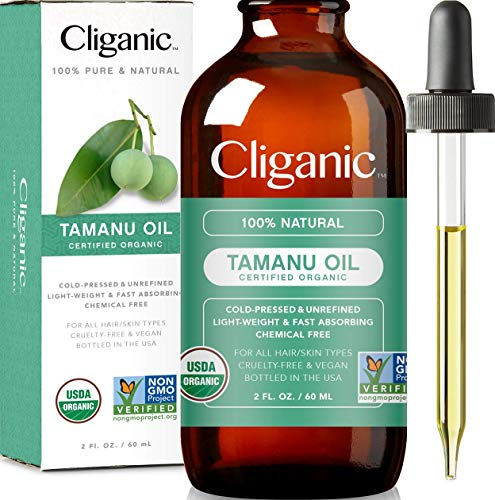 Cliganic USDA Organic Tamanu Oil, 100% Pure - For Face, Hair & Skin | Natural Cold Pressed Unrefined Hexane-Free
