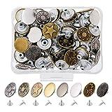 Gasea 80PCS Botón de Metal con Hebilla de Jeans, 17MM Kit de Herramientas de Cuero Para Jeans con Caja de Almacenaje