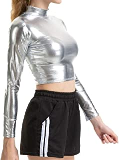 Fiere Women's Fitted Metallic Pure Color Long-Sleeve Crop Sexy Tees Shirt