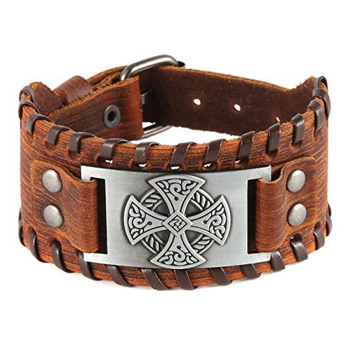 HZMAN Celtic Knot Cross Nordic Viking Pirate Irish Knot Metal Amulet Cuff Leather Bracelet for Men Women