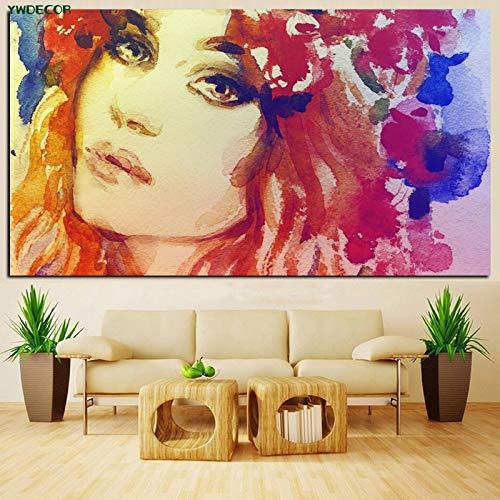 wZUN Imprimir Belleza Sexy Girl Lady Retrato Pintura al óleo Mural Abstracto Sala de Estar Imagen 50x100cm