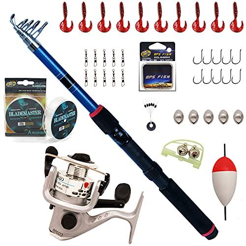 BPS Kit Combo de Pesca Incluye Caña de Pescar Spinning Telescópica Carrete de Pesca Cebos y Accesorios de Pesca para Mar de Agua Salada de Agua Dulce OZL-01071 * 1