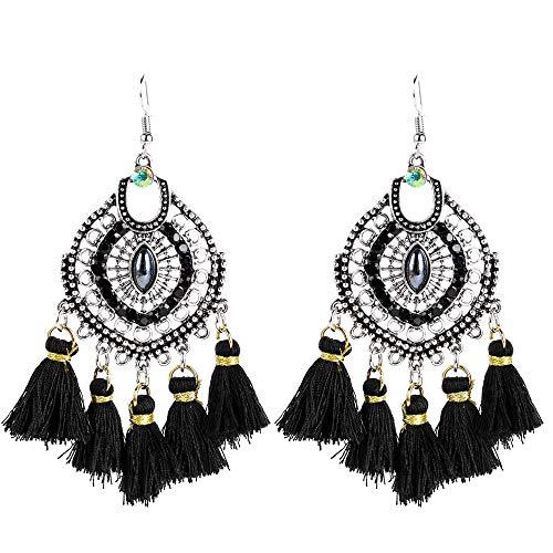 BJINUIY Pendientes de Borla de acrílico de aleación Exquisita, Pendientes de Flecos de Moda Bohemia para Mujer Negro