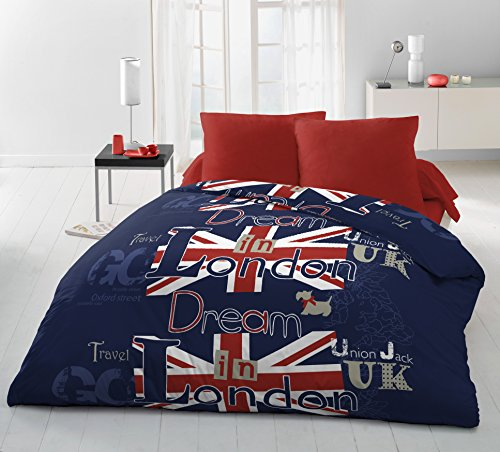 Home Linge Passion Dream in London - Juego de Funda nórdica de 3 Piezas, Microfibra, Azul, Rojo y Blanco, 220 x 240 cm