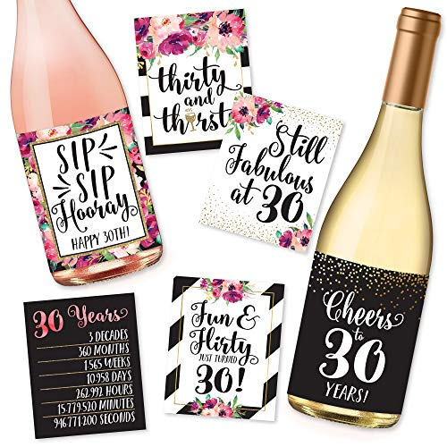6 30th Birthday Wine Bottle Labels or Stickers Present, 1991 Dirty Thirsty Flirty Thirty Bday Gifts For Women, Cheers to 30 Years, Funny Pink Black Gold Party Decor Supplies For Wife, Girl Mom Friend