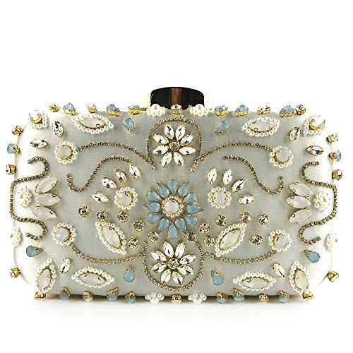 BAIGIO Damen Abendtasche Strass Clutch Elegant Handtasche Kettentasche für Hochzeit Cocktail Party (Silber)