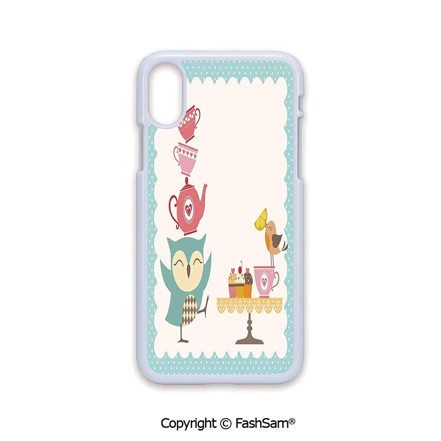 Plastic Rigid Mobile Phone case Compatible with iPhone X Black Edge Owl at Tea Party Bird with Lemon Cupcakes and Teacups Vintage Design Border Art 2D Print Hard Plastic Phone Case