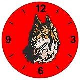 'Cristal Reloj 'Cabeza de lobo Wolfsrudel–Lobos Animales Luna Llena Noche Lobos de reloj...