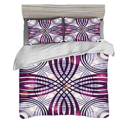 Bettwäscheset King Size (220 x 240 cm) mit 2 Kissenbezügen Jugendstil Mikrofaser-Bettwäsche-Sets Geometrische groovige gebogene Trippy Linien Vintage kunstvolle Muster,dunkel lila blass lila Magenta,P