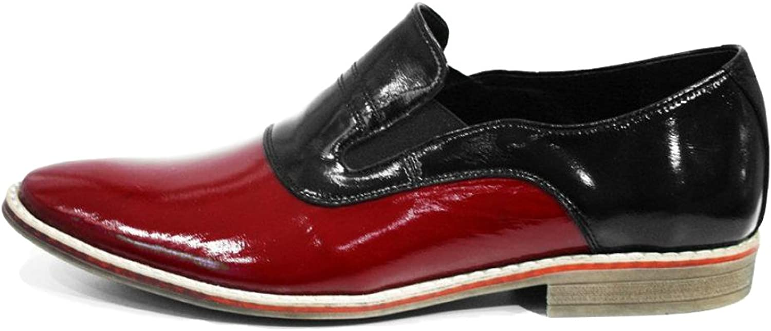 Peppeshoes Modello Bacoli - Handmade Italian Leather Mens color Red Moccasins Loafers - Cowhide Patent Leather - Slip-On