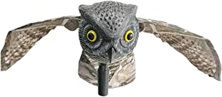 Yardwe Owl Decor Bird Runner Insect Deterrent Movable Wings Scarecrow Home Garden Orchard Insect Owl with Wings (White Eye Sockets)