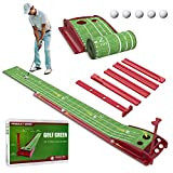 Wood Golf Putting Green Mat with Auto Ball Return System Mini Golf Game Practice Equipment and Golf Gifts for Men Home Office Backyard Indoor Outdoor Use (Indoor Golf)