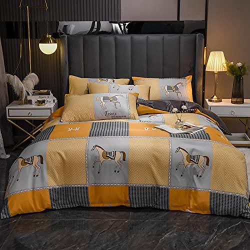 Funda NóRdica Y 2 Fundas De Almohada,Funda de seda, ligera de lujo suave y transpirable individual de doble cama de soltero almohada de almohada, adecuada para habitación de habitación habitación par