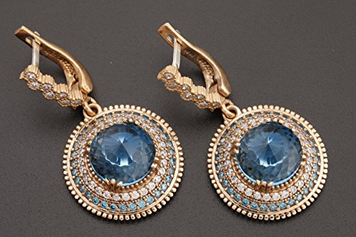 Turkish Handmade Jewelry Round Shape London Blue and Round Cut Topaz 925 Sterling Silver Dangle/Drop Earrings