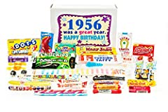 Contains 30 different kinds of a great assortment and variety of retro nostalgic candy 1956 birthday gift box filled with nostalgic candy is sure to bring back memories to a baby boomer Makes a fun and unique 64th birthday gift for someone who has ev...