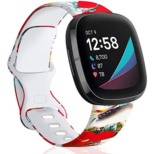 TopPerfekt - Cinturino di ricambio compatibile con Fitbit Versa 3/Sense, in morbido silicone, con motivo a fiori rossi, per donne e uomini, taglia S