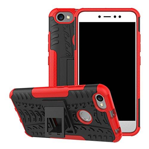 FaLiAng Xiaomi RedMi Note 5A Prime Funda, 2in1 Armadura Combinación A Prueba de Choques Heavy Duty Escudo Cáscara Dura para Xiaomi RedMi Note 5A Prime (Rojo)