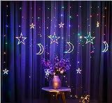 ACDES 2.5m 3.5m Inserto USB LED Moon Star Box Cortina Hada Hada Cuerdas de Navidad Sala de luz Decoración romántica - Color ACDES (Color : Seven Color)