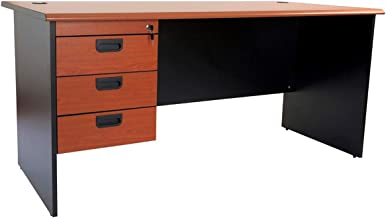 Mahmayi Metal Silini Office Desk, GE160HD, Cherry/Black, H75 x W80 x D160 cm