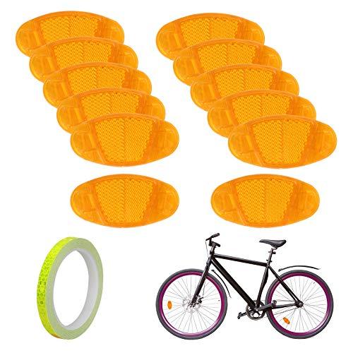 12 Uds BAMZOK reflectores de radios de Bicicleta reflectores de Rueda de Bicicleta Luces Reflectantes de Rueda de Bicicleta para Bicicleta Accesorio de Seguridad para conducción Nocturna