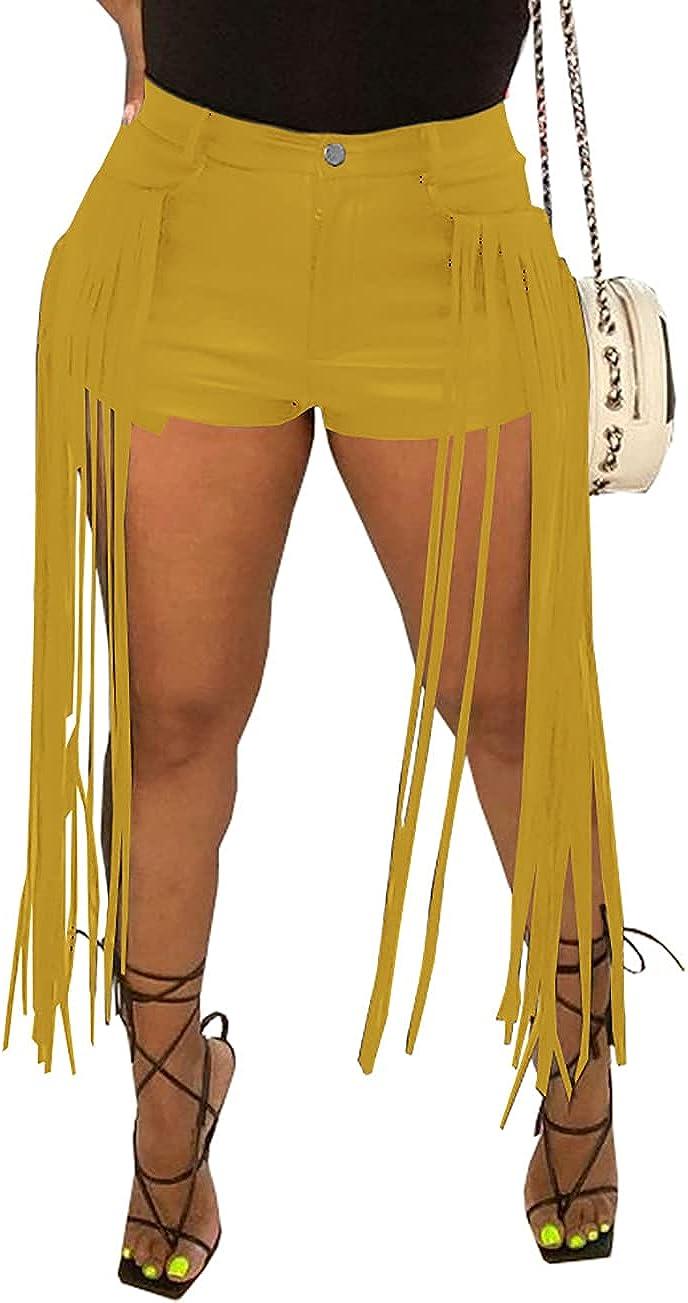 MESLIMA Women's Summer Leather Pants High Waist Button Zipper Sexy Tassel PU Shorts with Pockets