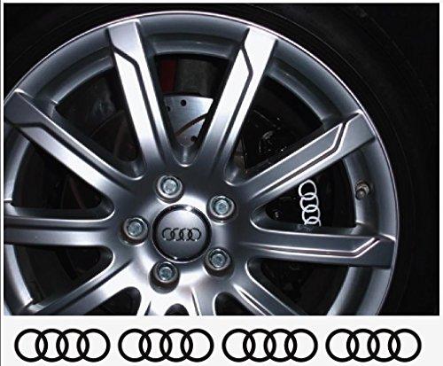 snstyling.com Aufkleber passend für Audi Ringe Felgen- Bremssattel- Spiegel Aufkleber - 4 Stück im Set 80mm (Weiss)