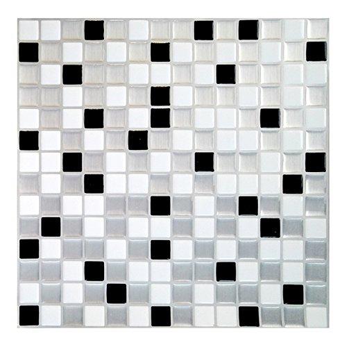 Wandora Juego de 4 pegatinas autoadhesivas para azulejos de cocina o baño, 25,3 x 25,3 cm, diseño de mosaico en 3D, varios colores