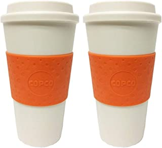 Copco Acadia Double Wall Insulated 16 oz Travel To Go Mug with Non-Slip Sleeve, Set of 2, Commuter Friendly, Drink On the Go (Orange)