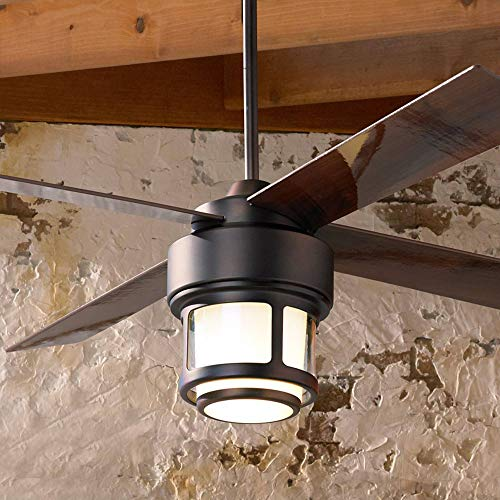 """52"""" Tercel Mission Outdoor Ceiling Fan with Light LED Remote Control Oil Brushed Bronze Reversible Walnut Blades Damp Rated for Patio Porch - Casa Vieja"""