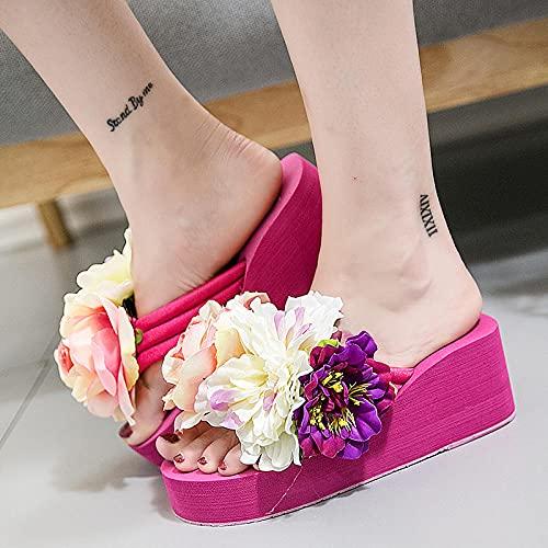 COQUI Sandalia,Zapatillas de Playa con Flores Hechas a Mano Pendientes Femeninas de Verano con el carácter volteando-40_Zapatos Rosas