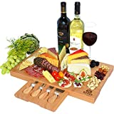 Unique Bamboo Cheese Board, Charcuterie Platter & Serving Tray Including 4 Stainless Steel Knife &...