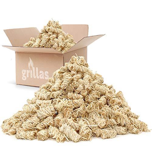 grillas Bio-Kaminanzünder und Grillanzünder 10 kg aus Holzwolle, in Wachs getränkt | Kohleanzünder | Wachsanzünder | Anzündwolle | Anzündhilfe | ohne Rückstände