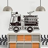 Calcomanía de pared de camión de bomberos, Mural móvil para sala de estar, decoración de habitación para niños, calcomanía, adhesivo para pared, adhesivo A4 57x80cm