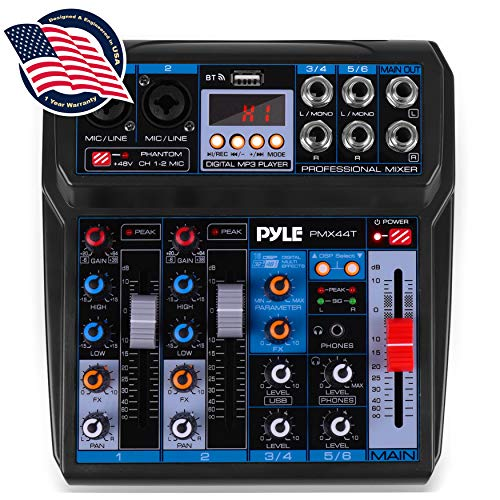 Professional Wireless DJ Audio Mixer - 6-Channel Bluetooth Compatible DJ Controller Sound Mixer w/DSP Effects, USB Audio Interface, Dual RCA in, XLR/1/4 Microphone in, Headphone Jack-Pyle PMX44T.5