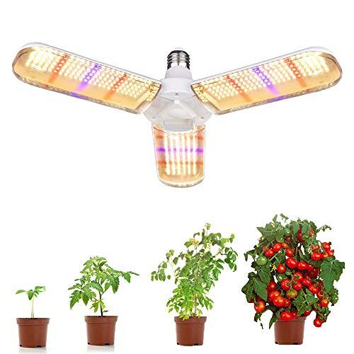 LED Pflanzenlampe E27 150W Pflanzenlicht LED Fächerform 180° Beleuchtung 414 LEDs Grow Light Vollspektrum Pflanzenlampen für Zimmerpflanzen [Energieklasse A+]