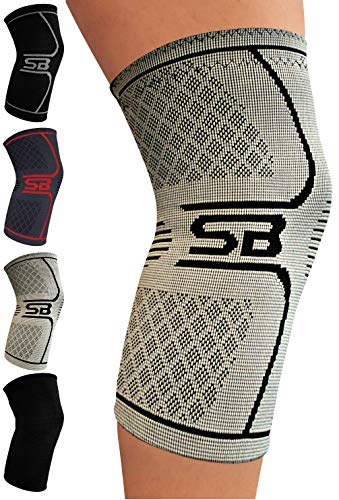 SB SOX Compression Knee Brace - Great Support That Stays in Place - Perfect for Recovery, Crossfit, Everyday Use - Best Treatment for Pain Relief, Meniscus Tear, Arthritis (Gray/Black, X-Large)