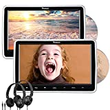 NAVISKAUTO 10.1' Dual Car DVD Players with HDMI Input 2 Headphones Headrest Mount Support AV Out & in Last Memory Region Free(2 Headrest DVD Players)