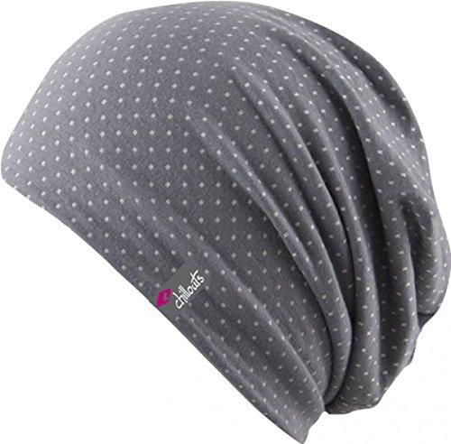 Chillouts Florence Hat - 3 Farben Damen und Herren - super leicht Summer Slouch Beanie - Long Beanie - Neu - Frühling Sommer, Farbe:Grau