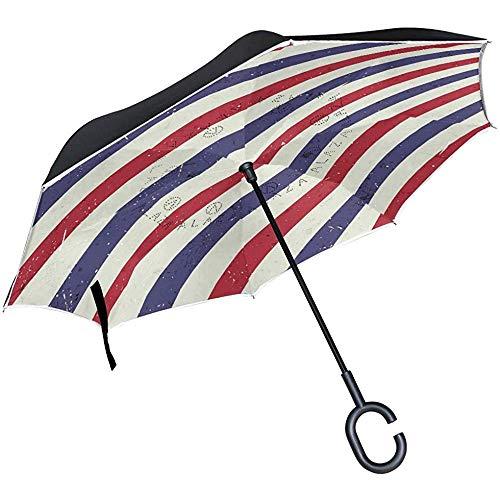 Wheatleya Fahnen-Taschenschirm der Vereinigten Staaten von Amerika Winddichter UV-Schutz für die Verwendung im Auto Regen im Freien mit C-förmigem Griff