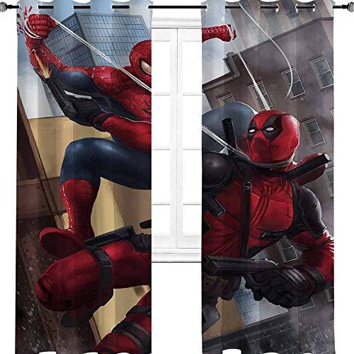 aotuma Rideaux occultants à œillets pour enfants Deadpool vs Spider Man Avengers 160 x 183 cm