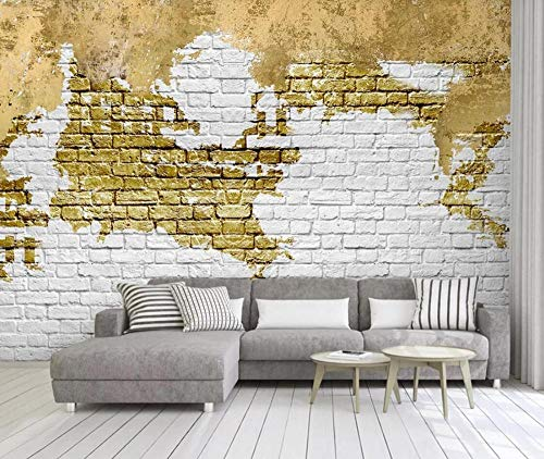 Papel de parede 3D Tv Wall Decor Stickerr Abstrato Golden Tijolo Wall Art Adesivos de parede modernos para decoração de quarto
