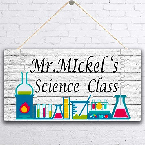 teacher sign for doors MUPIANLX Personalized Teacher Sign, Science Class & Customized Gift for Kids-Decor for Girls, Teacher's Name, Classroom Hanging Door Sign, Gift for Teacher, 5 x 10 inches Wood Sign