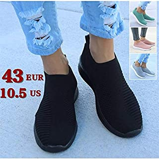 2019 New Women Trainers Knit Sock Running Shoes Woman Sport Footwear Athletic Breathable Sneakers Outdoors(Grey,10.5)
