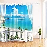 LB Tropical Sand Beach Overlook from Balcony Shower Curtain Set, Hawaiian Paradise Seaside Scene Bathroom Decor, 70x70 Shower Curtain Waterproof
