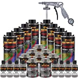 Custom Coat Dove Gray 2 Gallon (8 Quart) Urethane Spray-On Truck Bed Liner Kit with Spray Gun and Regulator - Easy Mixing, Shake, Shoot - Textured Protective Coating, Prevent Rust - Car, Auto