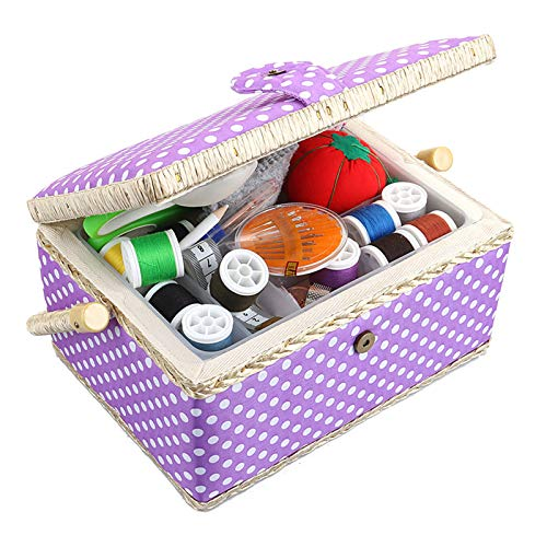 Medium Sewing Basket Organizer with Complete Sewing Kit Accessories Included - Wooden Sewing Box Kit with Removable Tray and Tomato Pincushion for Sewing Mending - Purple