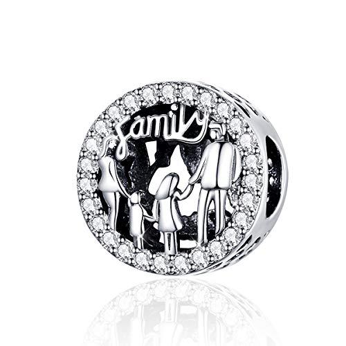 Charm in argento sterling 925, motivo: famiglia di 4 persone, da donna, adatto per braccialetti e collane Pandora Stile 1