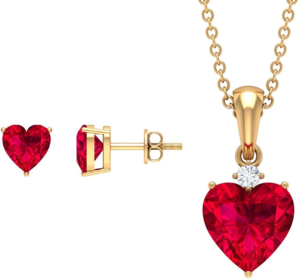 4 CT Lab Created Ruby Earring and Pendant Set, HI-SI Diamond Pendant Set, Gold Jewelry Set (6 MM, 8 MM Heart Shaped Lab Created Ruby)